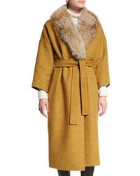 Derek Lam 10 Crosby Drop Shoulder Trench Coat With Fur Collar