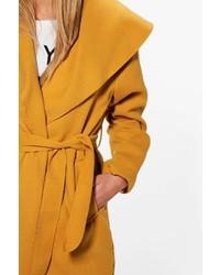 Boohoo Ellie Oversized Shawl Collar Belted Coat