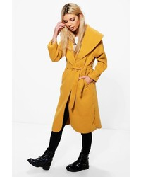Boohoo Ellie Oversized Shawl Collar Belted Coat