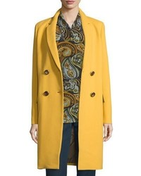 Lafayette 148 New York Gianna Double Breasted Wool Blend Coat Mustard