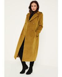 Missguided Khaki Premium Military Faux Wool Maxi Coat