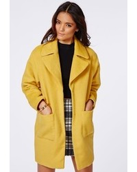 Missguided Lena Oversize Cocoon Coat Mustard