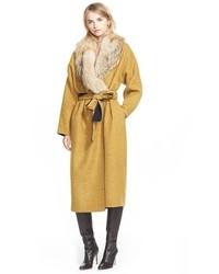 Derek Lam 10 Crosby Reversible Wool Blend Coat With Removable Genuine Coyote Fur Collar