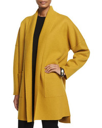 Eileen Fisher Boiled Wool Kimono Coat Mustard Plus Size