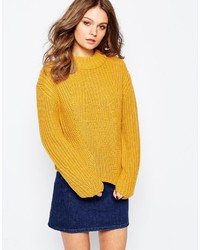 Fashion Union Crop Ribbed Dropped Shoulder Sweater