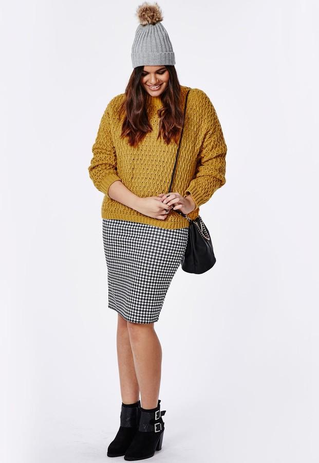 1797c6b7b32 ... Missguided Plus Size Chunky Knit Sweater Mustard ...