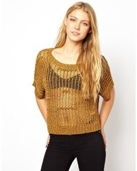 Selected Gabi Knitted Top Honey Mustard