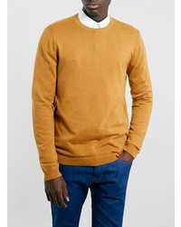 Topman Mustard Crew Neck Sweater