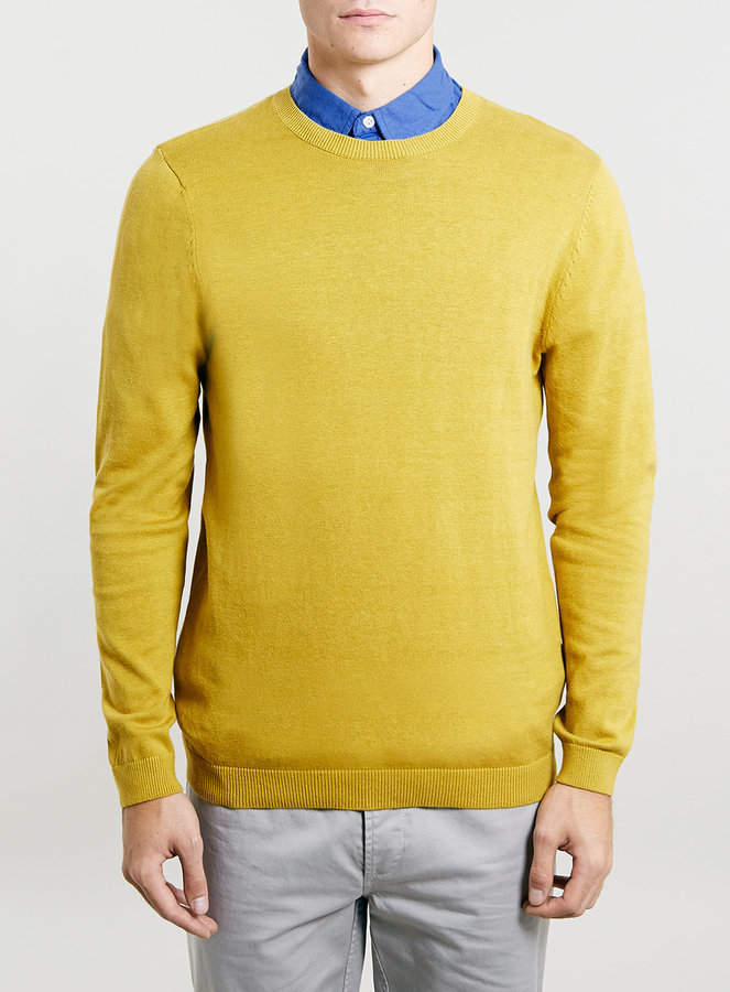Topman Ochre Yellow Marl Crew Sweater | Where to buy & how to wear
