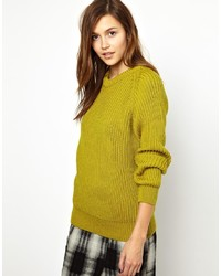 YMC Ribbed Crew Neck Sweater In Chunky Wool
