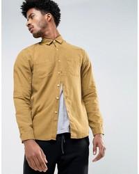 Asos Regular Fit Shirt In Mustard Bleach Washed Tencel