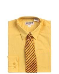 B-One Yellow Button Up Dress Shirt Banana Yellow Striped Tie Set Boys 5