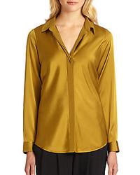 Stretch silk split collar blouse medium 204094