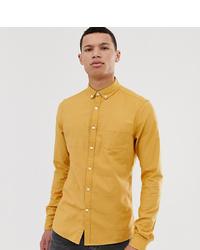 ASOS DESIGN Tall Skinny Oxford Shirt With Collar In Mustard
