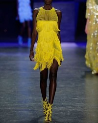 Naeem Khan Nem Khan Beaded Fringe Sleeveless Cocktail Dress Yellow