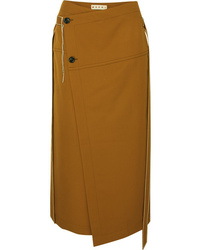 Marni Asymmetric Wool Twill Wrap Skirt