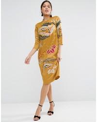 Asos Mustard Embroidered Long Sleeve Shift Dress