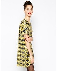 Love moschino short sleeve shift dress in floral print yellow blue medium 72039