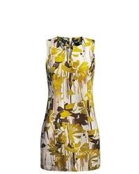 Womyn Cotton Jacquard Dress Sleeveless Green Floral