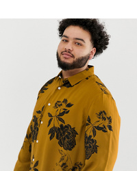 46d2b100703 Men's Mustard Long Sleeve Shirts by ASOS DESIGN | Men's Fashion ...
