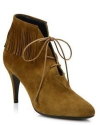 Saint Laurent Anita Fringed Suede Booties