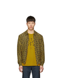 Fendi Reversible Yellow And Brown Forever Blouson Jacket