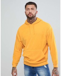 Asos Oversized Hoodie In Yellow Velour