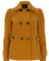 Dorothy Perkins Mustard Short Pea Coat