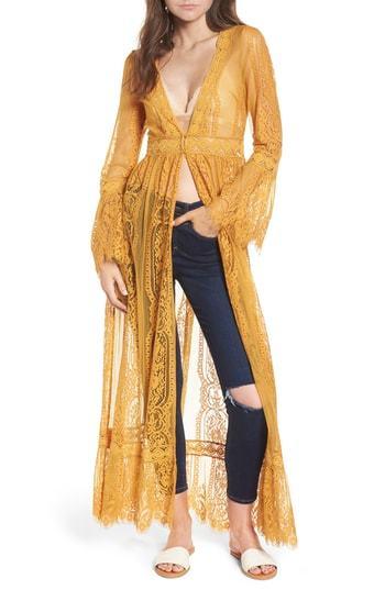 cabe507e5 ... Mustard Lace Kimonos Band of Gypsies Bell Sleeve Lace Kimono