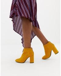 Pull&Bear Zip Heeled Boot In Mustard