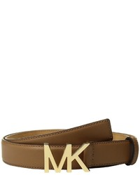 MICHAEL Michael Kors Michl Michl Kors Smooth Feather Edge Panel On Slim Mk Plaque Belts