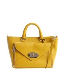 Mustard leather willow front zip pocket convertible top handle bag medium 236884