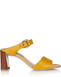 Mustard Leather Heeled Sandals