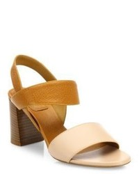 Chloé Chloe Mia Two Tone Leather Block Heel Slingbacks