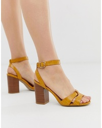 New Look Cross Block Heel Sandal In Yellow