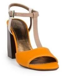 Lanvin Leather T Strap Sandals