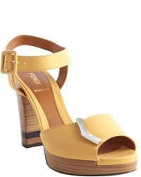 Fendi Yellow Leather Sanda O Sandals