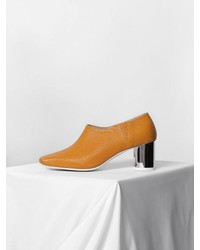 Mesh Leather Pumps Mustard