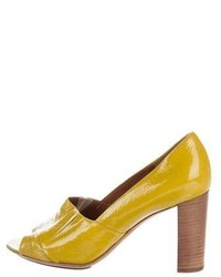 Dries Van Noten Patent Leather Peep Toe Pumps