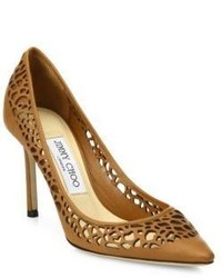 Jimmy Choo Romy 85 Lasercut Leather Point Toe Pumps