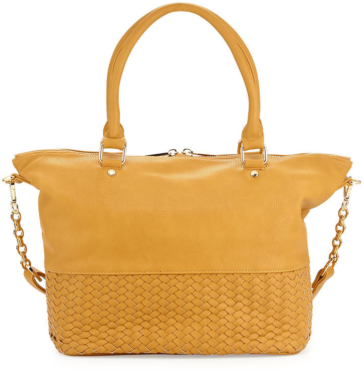 Neiman Marcus Woven Large Satchel Bag Mustard