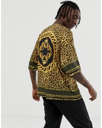 ASOS DESIGN Oversized Leopard Print T Shirt With Border And Back Print