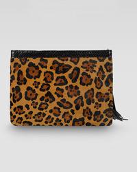 Rafe Celia Large Leopard Print Calf Hair Clutch