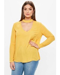 Missguided Curve Yellow Choker Neck Blouse