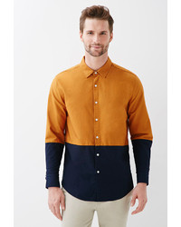 21men 21 Colorblocked Cotton Oxford Shirt