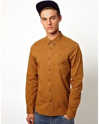 Asos Twill Shirt In Long Sleeve Brown