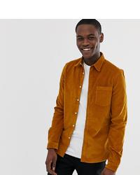 ASOS DESIGN Tall Slim Fit Cord Shirt In Mustard
