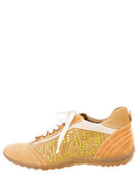 Just Cavalli Jewel Embellished Suede Sneakers