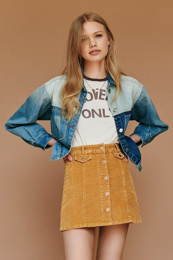 51e32f272 ... Urban Outfitters › BDG › Mustard Mini Skirts BDG Corduroy Button Front  Mini Skirt ...