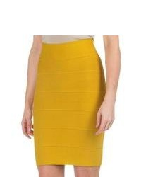 Specially made Solid Stretch Knit Skirt Mustard